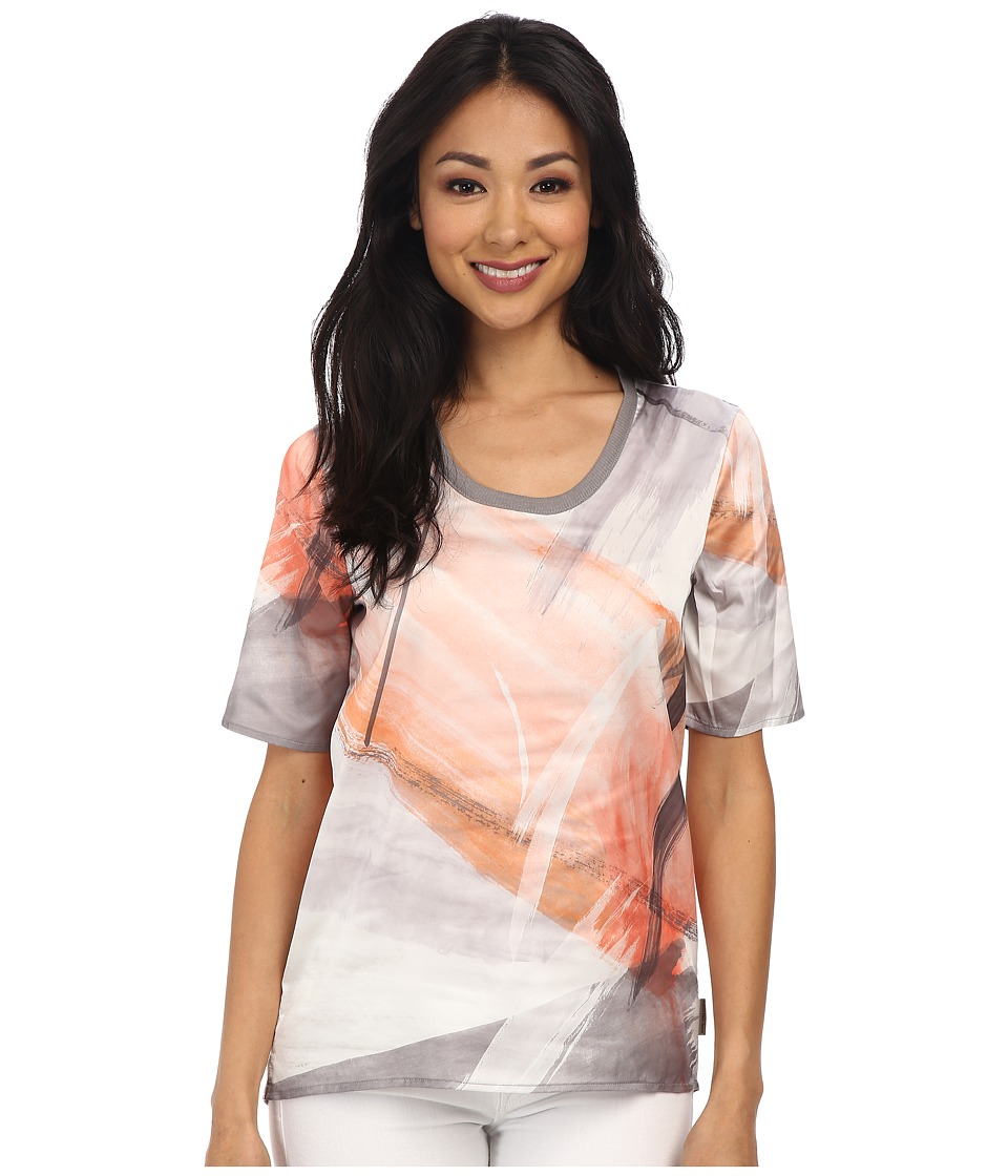 Calvin Klein Jeans - Abstract Paint Brush Woven Tee (Nectarine) Women's Short Sleeve Pullover