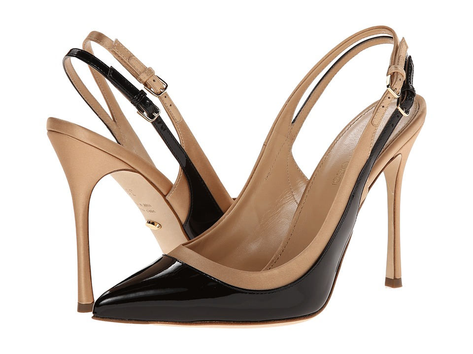 Sergio Rossi - A66651 MAF525 (Nero/Nude Satin/Patent) High Heels