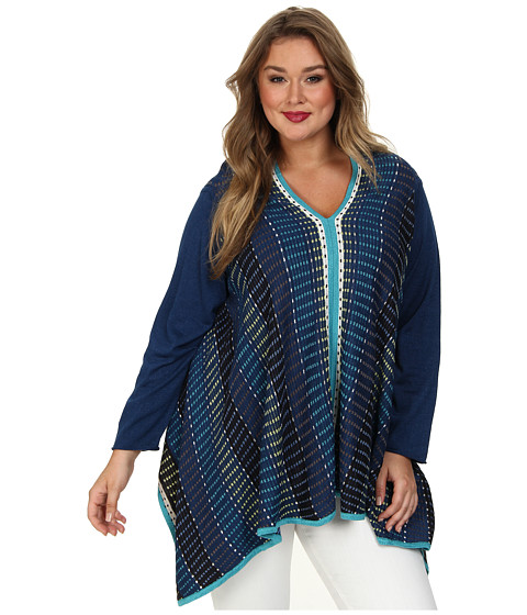 NIC+ZOE - Plus Size Go Overboard Top Reversible (Multi) Women's Clothing