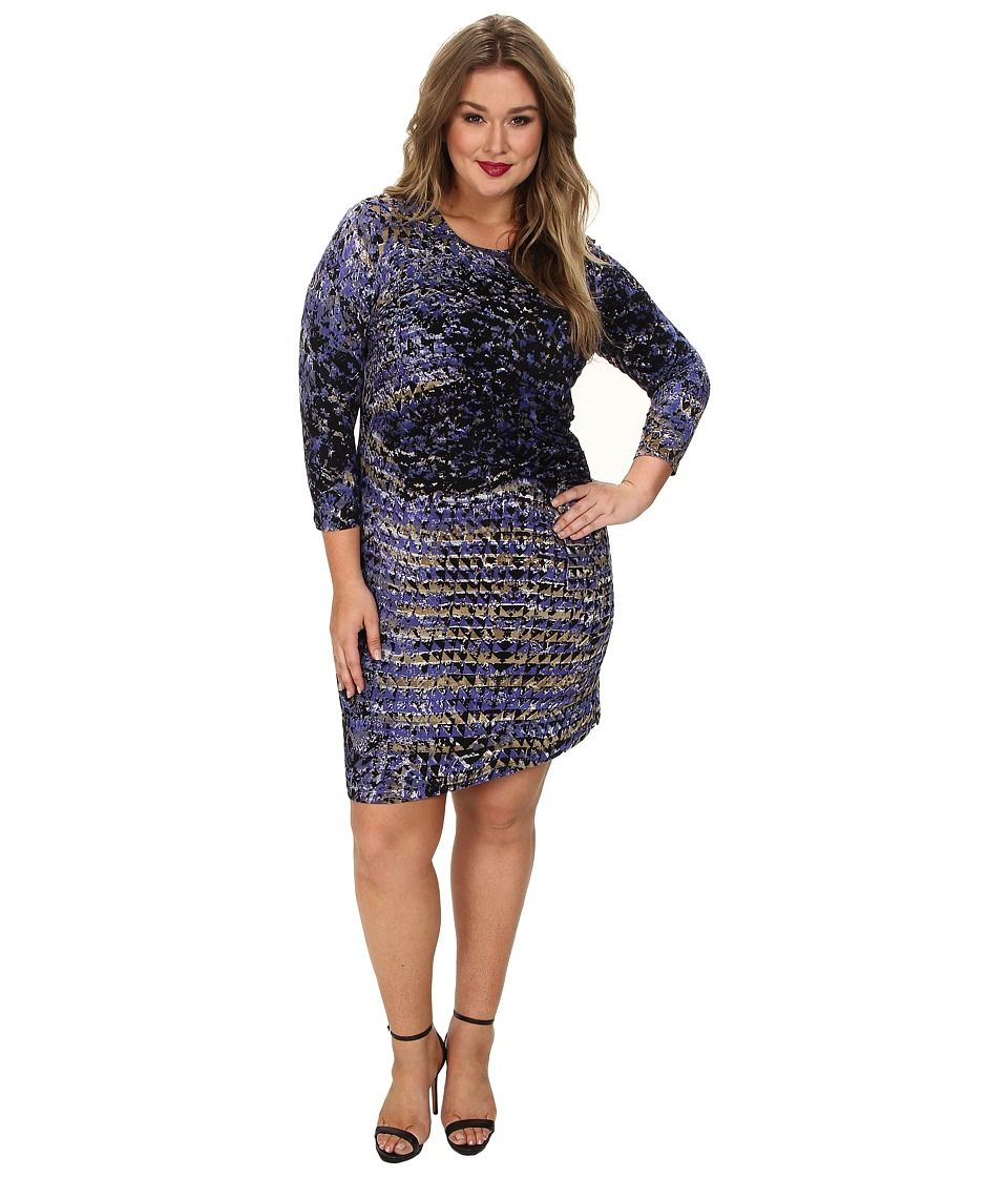 NIC+ZOE - Plus Size Utopia Twist Dress Hand Painted Feather Knit (Multi) Women's Dress