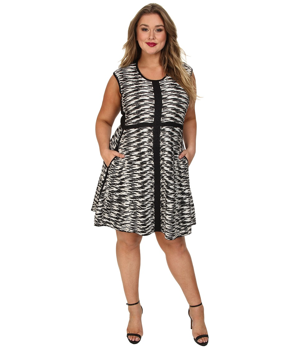 NIC+ZOE - Plus Size Pebble Pieced Twirl Dress (Multi) Women's Dress