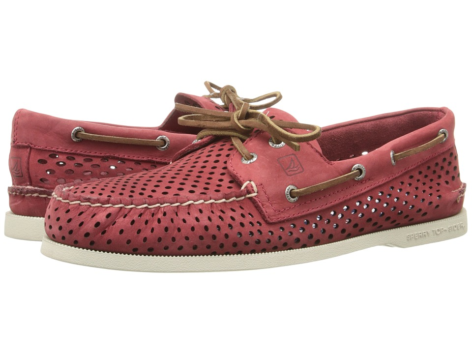 Sperry Top-Sider - A/O 2-Eye Laser Perf (Red) Men's Lace up casual Shoes