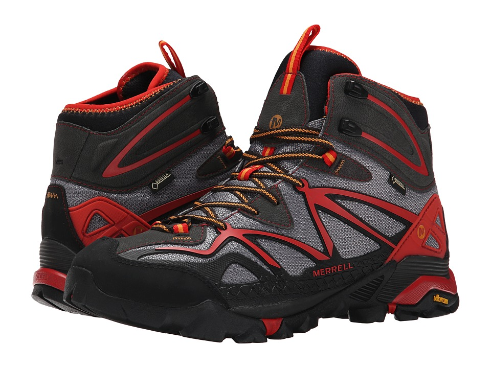 Merrell - Capra Mid Sport GORE-TEX (Light Grey/Red) Men's Hiking Boots