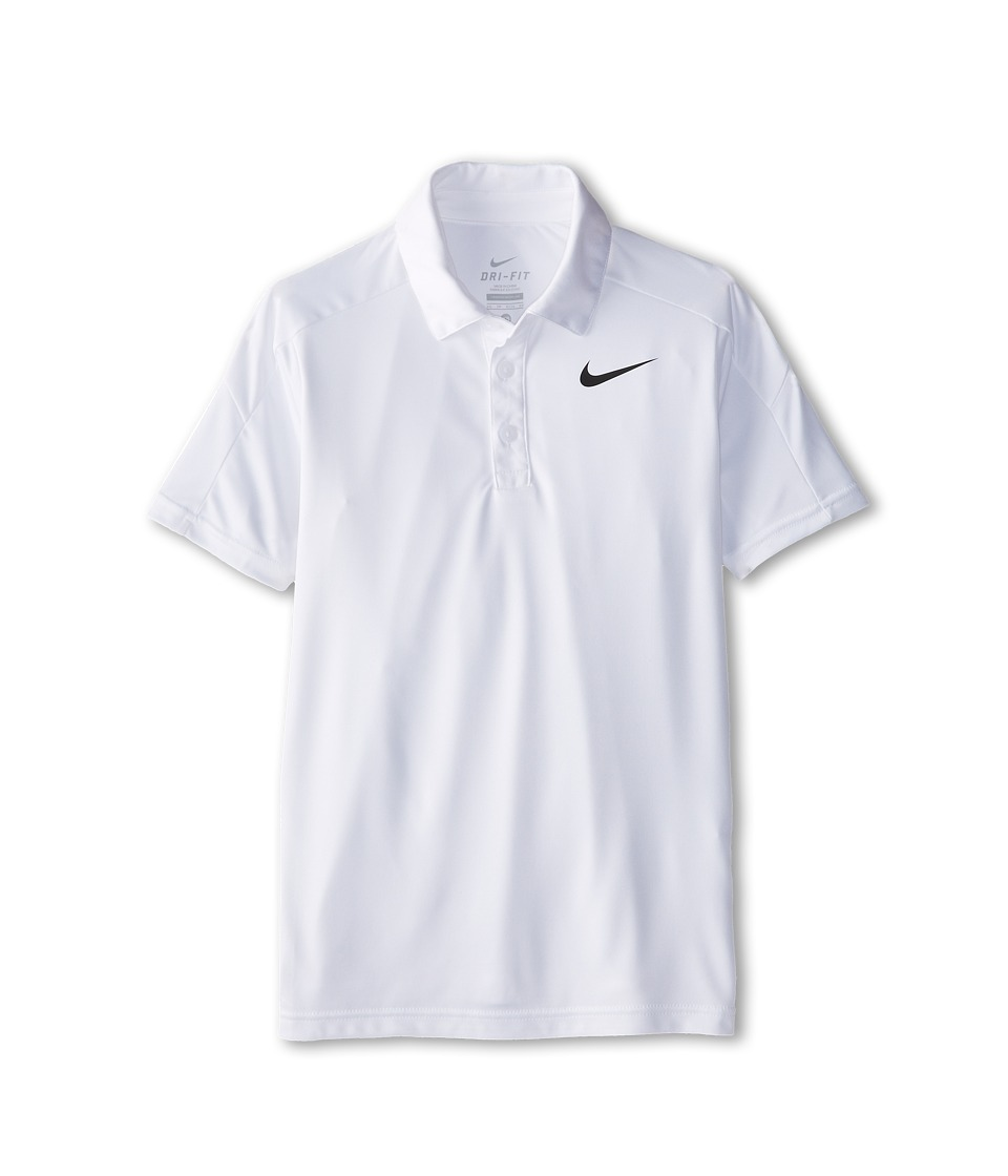 Nike Kids - Dry Short Sleeve Tennis Polo (Little Kids/Big Kids) (White/White/White/Black) Boy's Short Sleeve Pullover