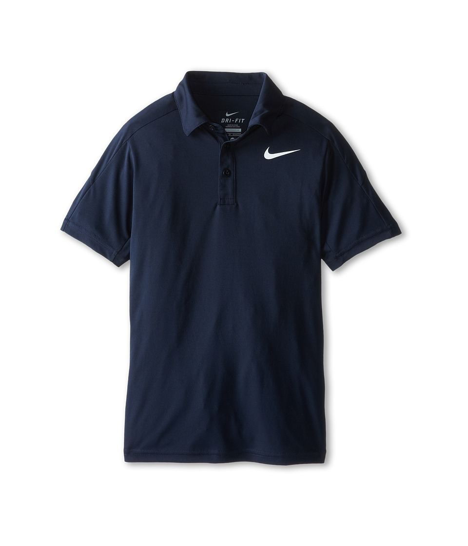 Nike Kids - Dry Short Sleeve Tennis Polo (Little Kids/Big Kids) (Obsidian/Obsidian/Obsidian/White) Boy's Short Sleeve Pullover
