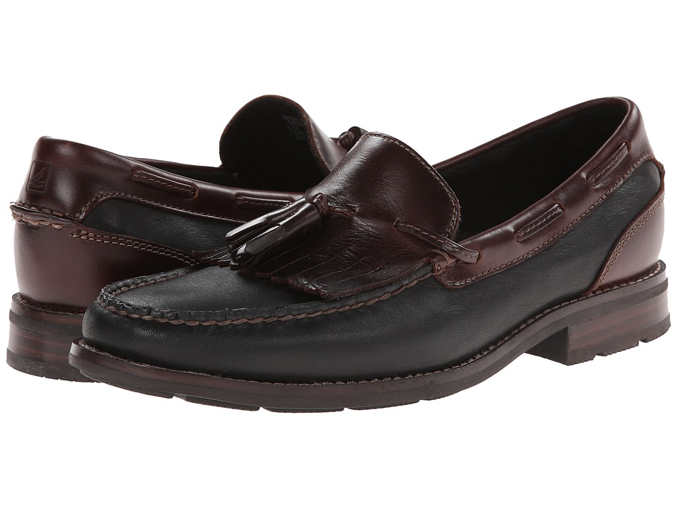 Sperry - Essex Kiltie (Black/Amaretto) Men's Slip on Shoes