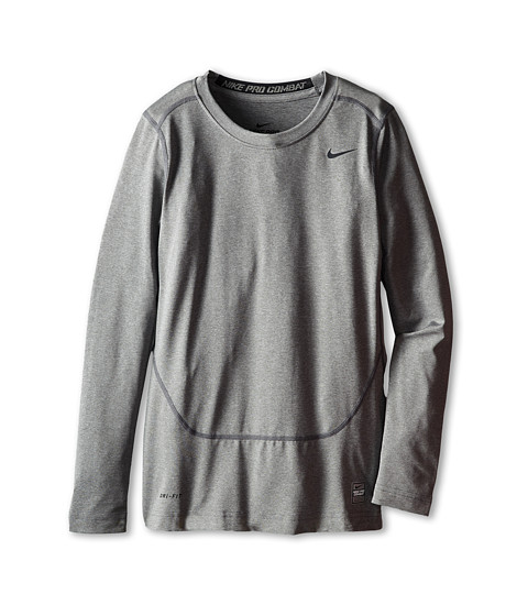 Nike Kids - L/S Core Compression Top (Little Kids/Big Kids) (Carbon Heather/Black) Boy's Long Sleeve Pullover