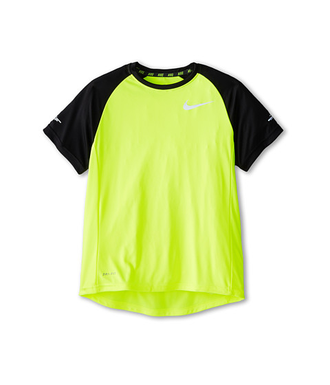 Nike Kids - Miler GFX S/S Crew (Little Kids/Big Kids) (Volt/Black) Boy