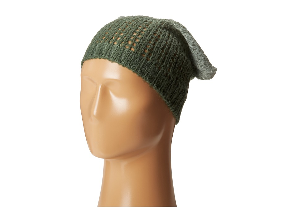 Michael Stars - Laced Knit Ombre Slouch Hat (Midnight Green) Knit Hats