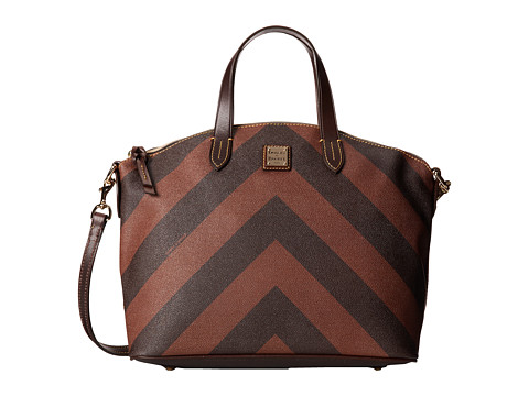 Dooney & Bourke - Large Chevron Large Gabriela Satchel (Brown w/ Brown Tmoro Trim) Satchel Handbags