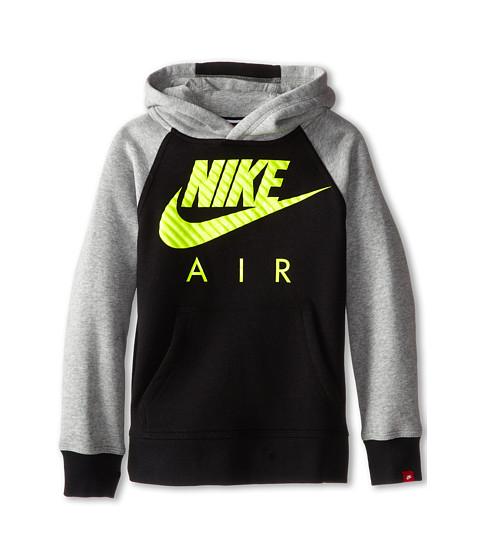 Nike Kids - YA76 HBR BF OTH Hoodie (Little Kids/Big Kids) (Black/Dark Grey Heather/Volt) Boy's Sweatshirt