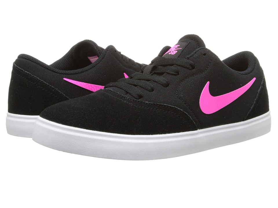 Nike SB Kids - SB Check (Big Kid) (Black/Pink Pow/White) Girl's Shoes