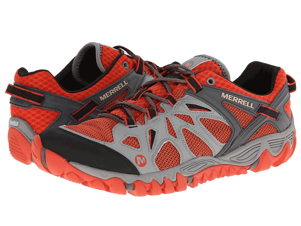 Merrell - All Out Blaze Aero Sport (Grey/Red Clay) Men's Shoes