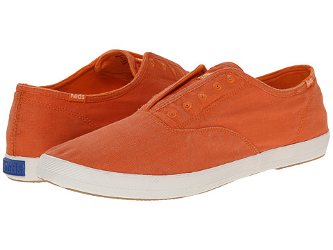 Keds - Champion Chillax Washed Twill (Orange) Men's Slip on Shoes