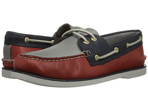 Sperry Top-Sider - Gold A/O 2-Eye (Red/Navy/Grey) Men's Slip on Shoes