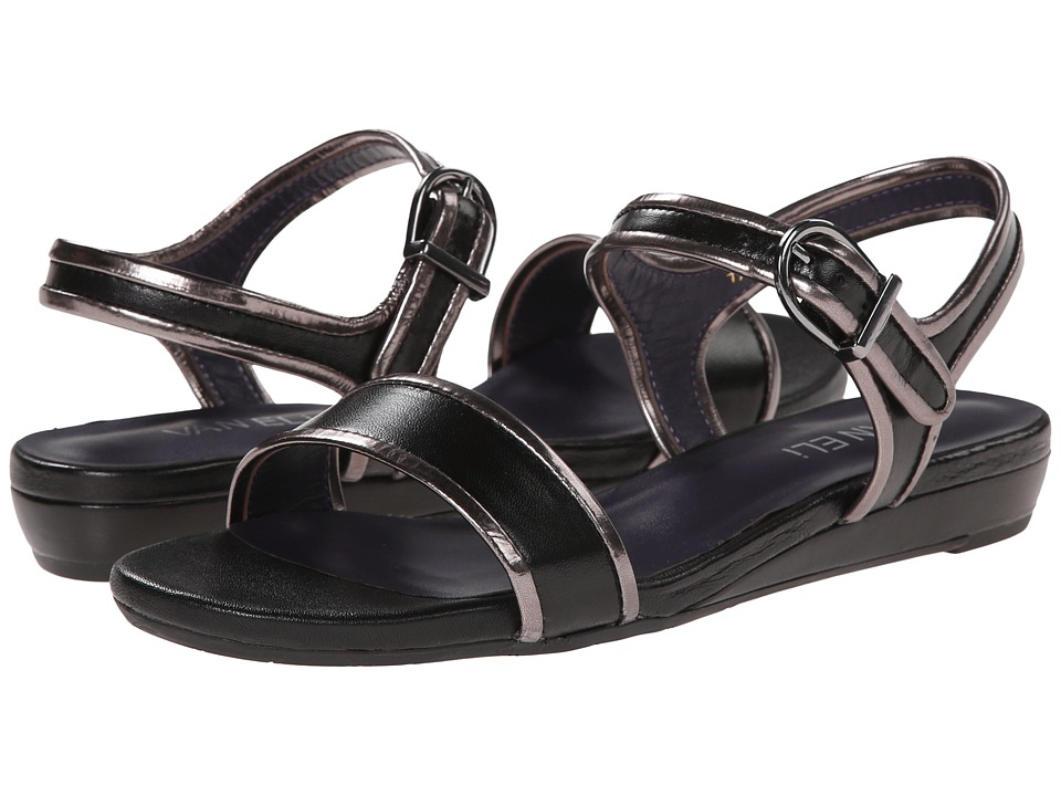 Womens Sandals Vaneli Baylee Black Nappa/Smog Specchio Kid/Gunmetal Buckle