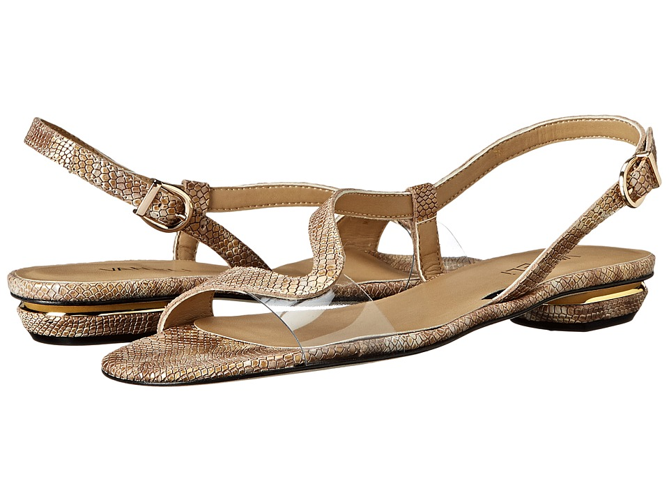 Vaneli Berta (Camel Darry Print/Clear Soft Vinyl/Gold Buckle) Women