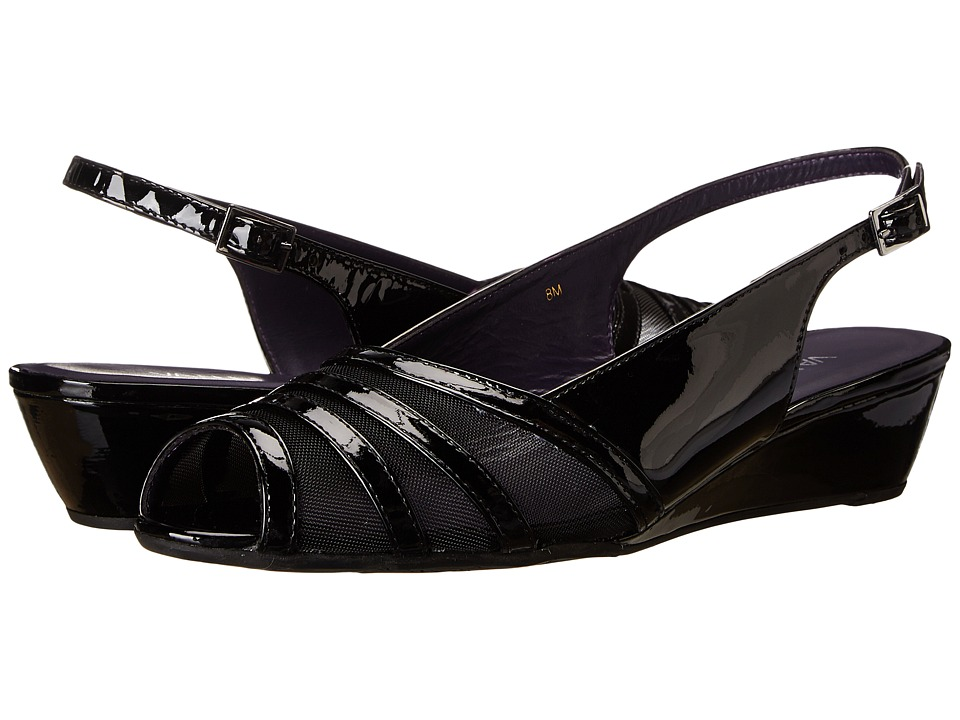 Vaneli - Ellis (Black Mag Patent/Balck Mesh/Gunmetal Buckle) Women's Sling Back Shoes