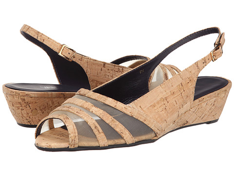 Vaneli - Ellis (Natural Cork/Beige Mesh/Gold Buckle) Women's Sling Back Shoes