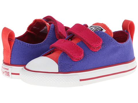 Converse Kids - Chuck Taylor All Star 2V Ox (Infant/Toddler) (Periwinkle/Berry Pink/Blush) Girls Shoes