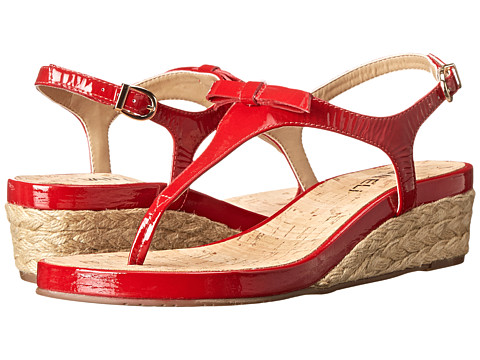 Vaneli - Kiliana (Red Krinkle Patent/Gold Buckle) Women's Wedge Shoes