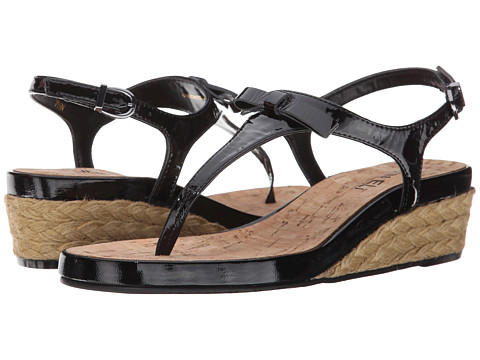 Vaneli - Kiliana (Black Krinkle Patent/Gunmetal Buckle) Women's Wedge Shoes
