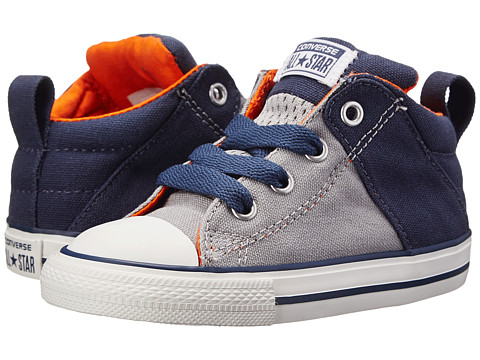 Converse Kids - Chuck Taylor All Star Axel Mid Leather (Infant/Toddler) (Dolphin/Navy) Boy