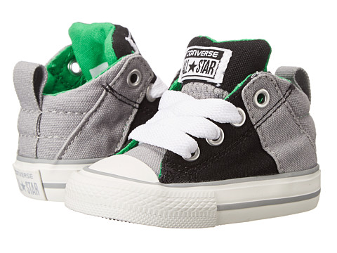 Converse Kids - Chuck Taylor All Star Axel Mid Leather (Infant/Toddler) (Black/Dolphin) Boy