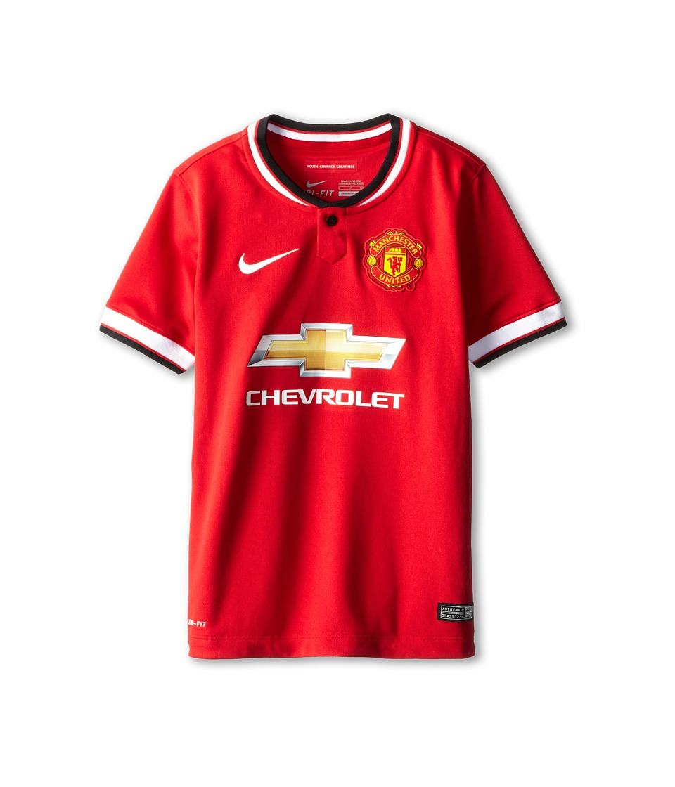 Nike Kids - MANU S/S Home Stadium Jersey (Little Kids/Big Kids) (Diablo Red/Football White/Football White) Boy's Short Sleeve Pullover