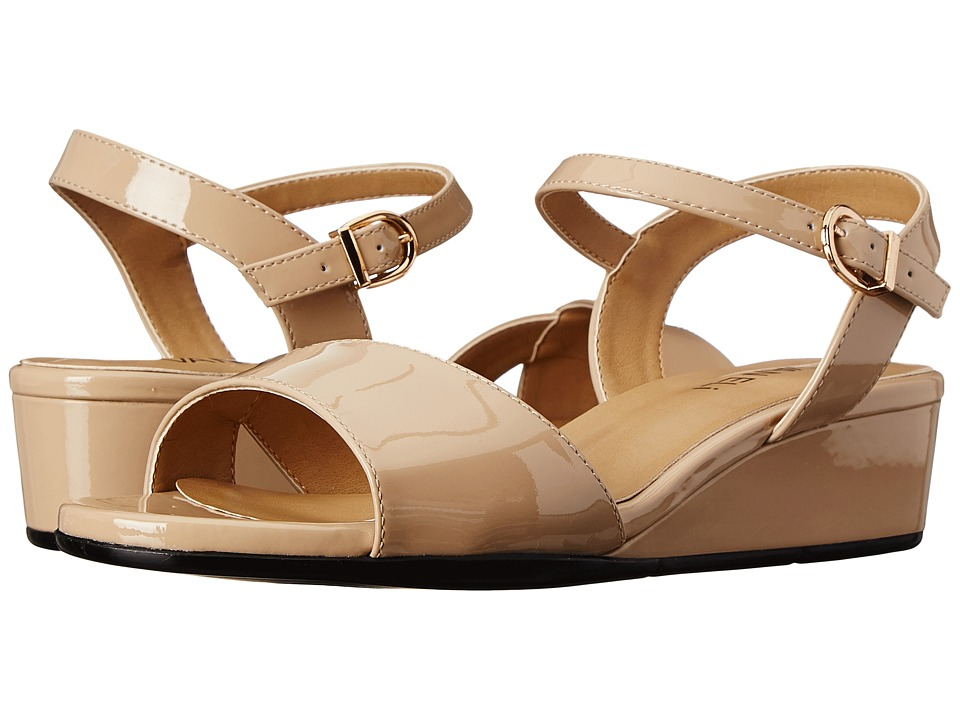 Vaneli - Kiona (Ecru Mag Patent/Gold Buckle) Women's Wedge Shoes
