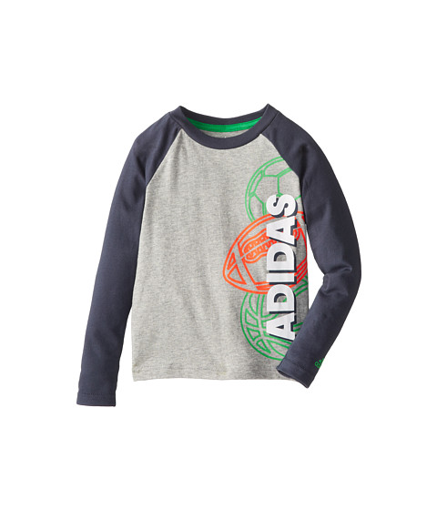 adidas Kids - Make It Count L/S Tee (Toddler/Little Kids) (Grey Heather w/ Mercury Grey) Boy