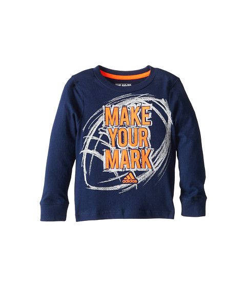 adidas Kids - Make Your Mark L/S Tee (Toddler/Little Kids) (Dark Indigo) Boy's T Shirt