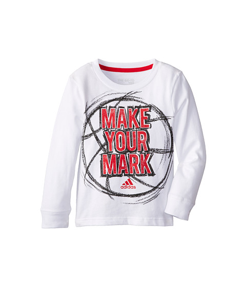 adidas Kids - Make Your Mark L/S Tee (Toddler/Little Kids) (White) Boy's T Shirt