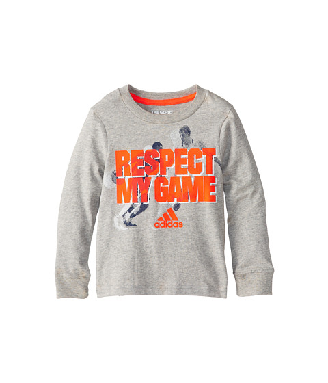adidas Kids - Go To Respect L/S Tee (Toddler/Little Kids) (Grey Heather) Boy's Long Sleeve Pullover