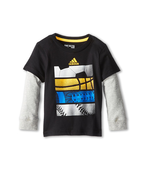 adidas Kids - Better Sports Skins (Toddler/Little Kids) (Black w/ Super Blue) Boy's Long Sleeve Pullover