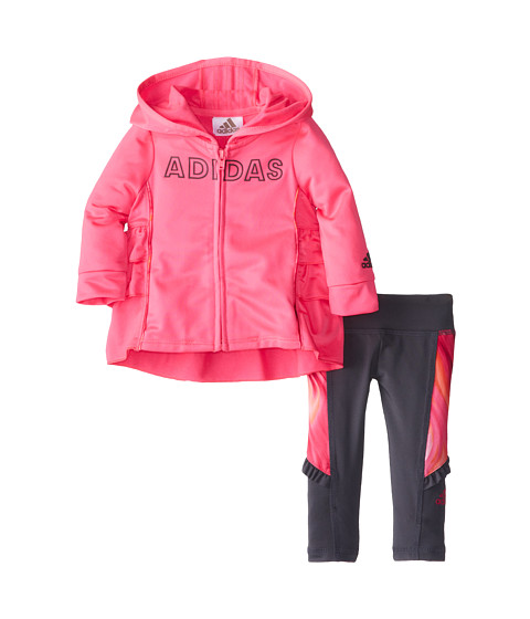 adidas Kids - Ruffle Tricot Set (Infant) (Solar Pink) Girl's Active Sets
