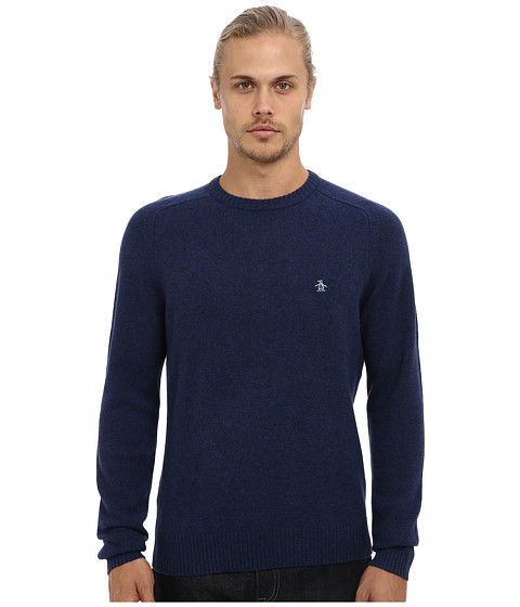 Original Penguin - Hector Lambswool Crew Neck Sweater (Dress Blues) Men