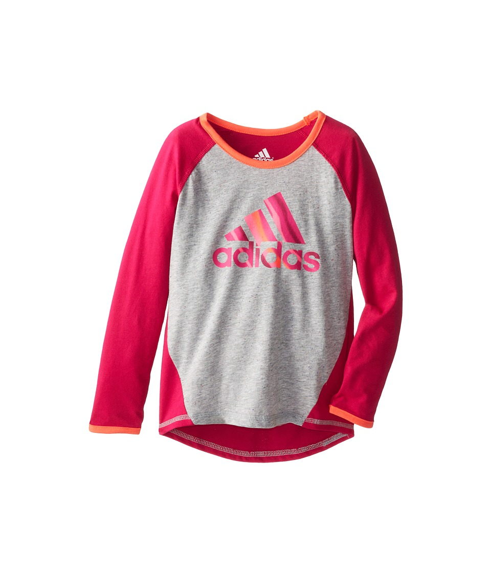 adidas Kids - Kick Back Raglan (Toddler/Little Kids) (Bold Pink) Girl's Long Sleeve Pullover