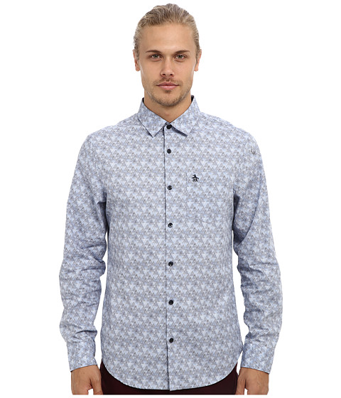 Original Penguin - Mountain Print L/S Woven (Eventide) Men