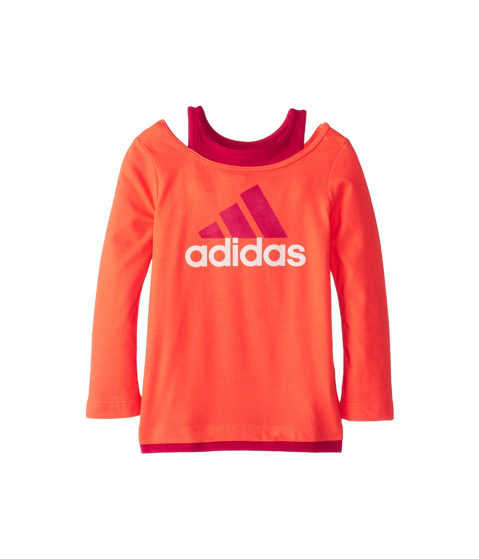 adidas Kids - Love Layer Tee (Toddler/Little Kids) (Fiery Coral) Girl's T Shirt