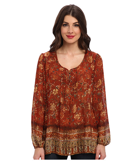 Miraclebody Jeans - Pandora Border Print Peasant Top w/ Body-Shaping Inner Shell (Cognac) Women