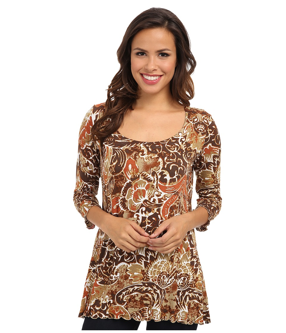 Miraclebody Jeans - 3/4 Sleeve Printed Tunic Top (Cognac) Women's Long Sleeve Pullover