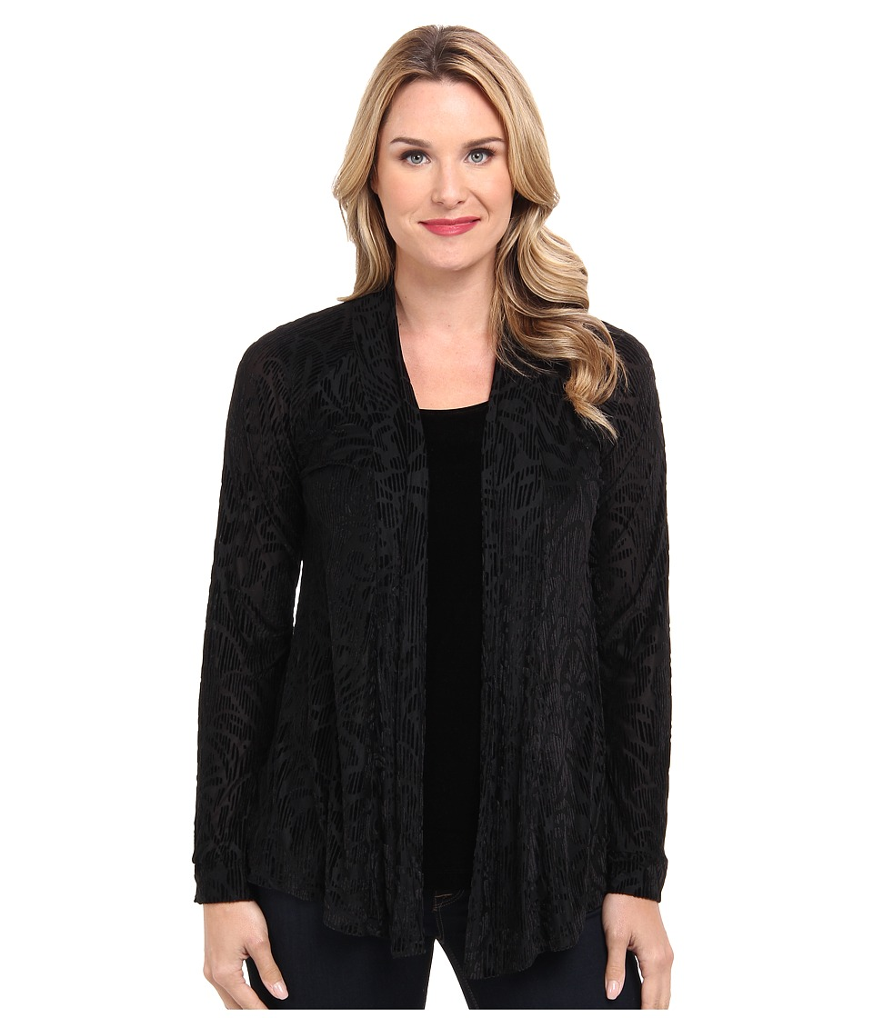 Miraclebody Jeans - Kim Kimono Twin Set - Velvet Tank and Velvet Burnout Kimono Cardigan (Black) Women's Sweater