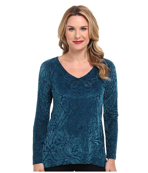 Miraclebody Jeans - Raquel Raglan Burnout Velvet V-Neck (Teal) Women's Long Sleeve Pullover