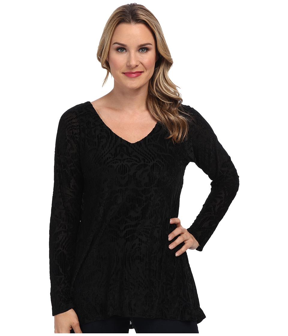 Miraclebody Jeans - Raquel Raglan Burnout Velvet V-Neck (Black) Women's Long Sleeve Pullover