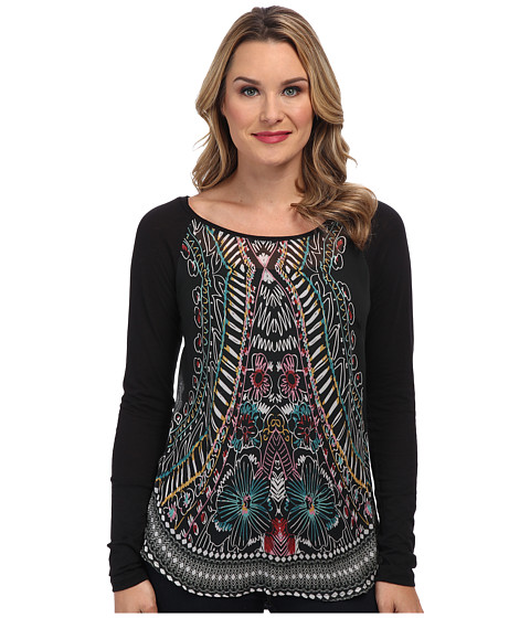 Miraclebody Jeans - Sonia Knit Woven Fabric Mix Top w/ Freehand Print On Front (Black) Women
