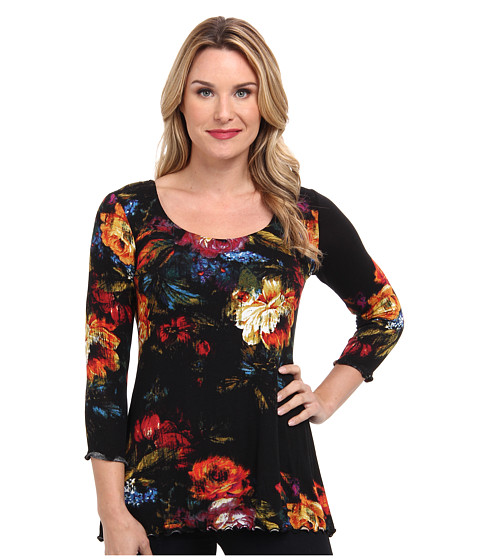 Miraclebody Jeans - BFF Floral Still Life Top w/ Body-Shaping Inner Shell (Black) Women