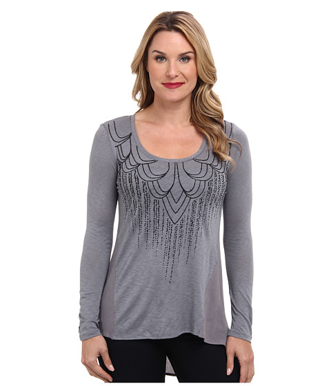 Miraclebody Jeans - Allie Knit Woven Fabric Mix Top w/ Art Deco Caviar Design (Grey) Women's Long Sleeve Pullover
