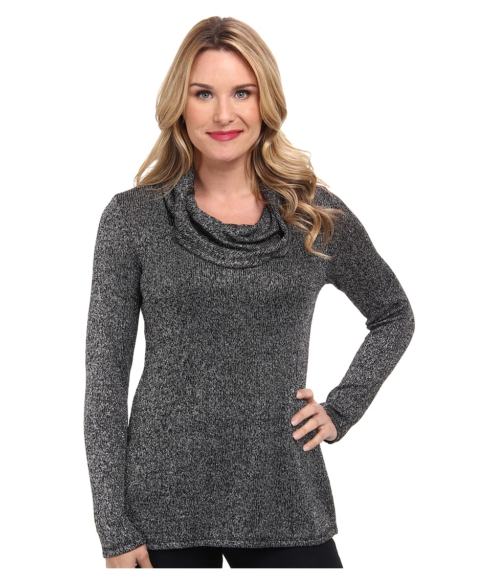 Miraclebody Jeans - Sophie Shimmer Knit Cowl Call Out Soft Metallic Fabric (Silver) Women