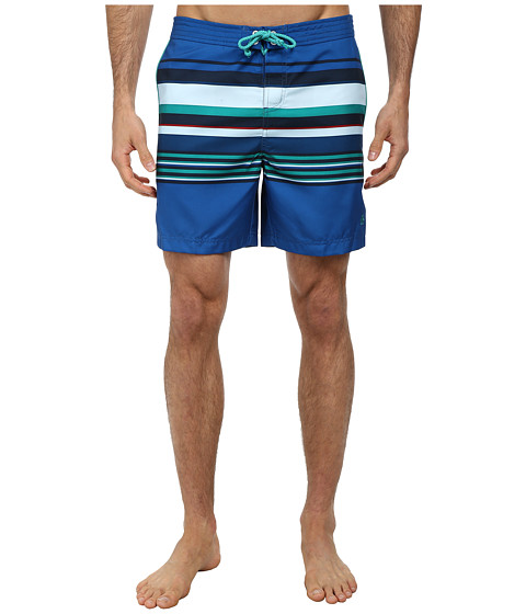 Original Penguin - Bold Engineered Stripe Volley Swim Trunk (Classic Blue) Men's Swimwear